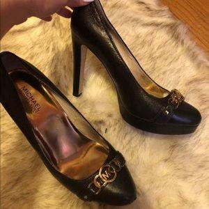 Michael kors black leather pump shoes hamilton